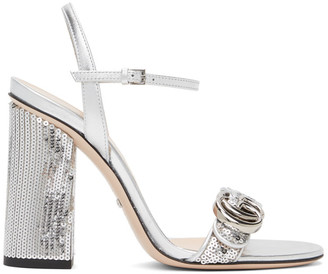Gucci Silver Sequin Marmont High Heeled Sandals