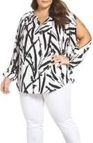 Foxcroft Plus Size Women's Cold Shoulder Brushstroke Floral Blouse