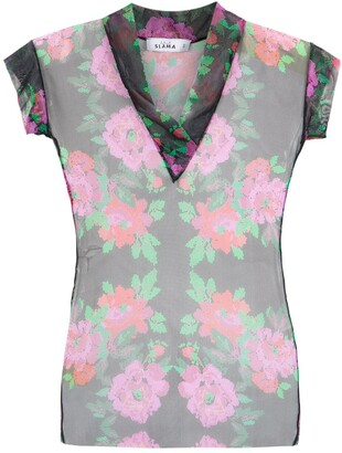 AMIR SLAMA Floral Tulle Blouse
