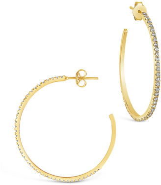 Sterling Forever 14K Over Silver Cz Inside-Out Hoops