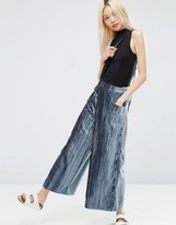 Asos Velvet Pleated Wide Leg Pants