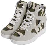 mewow Women's Girl's High Top Camouflage Casual Canvas Sneakers Wedge Hidden Heel Shoes (7, )