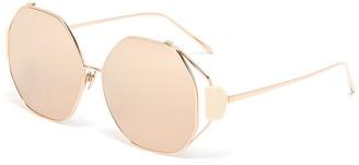 Linda Farrow Marie mirror lens hexagonal metal frame oversized sunglasses