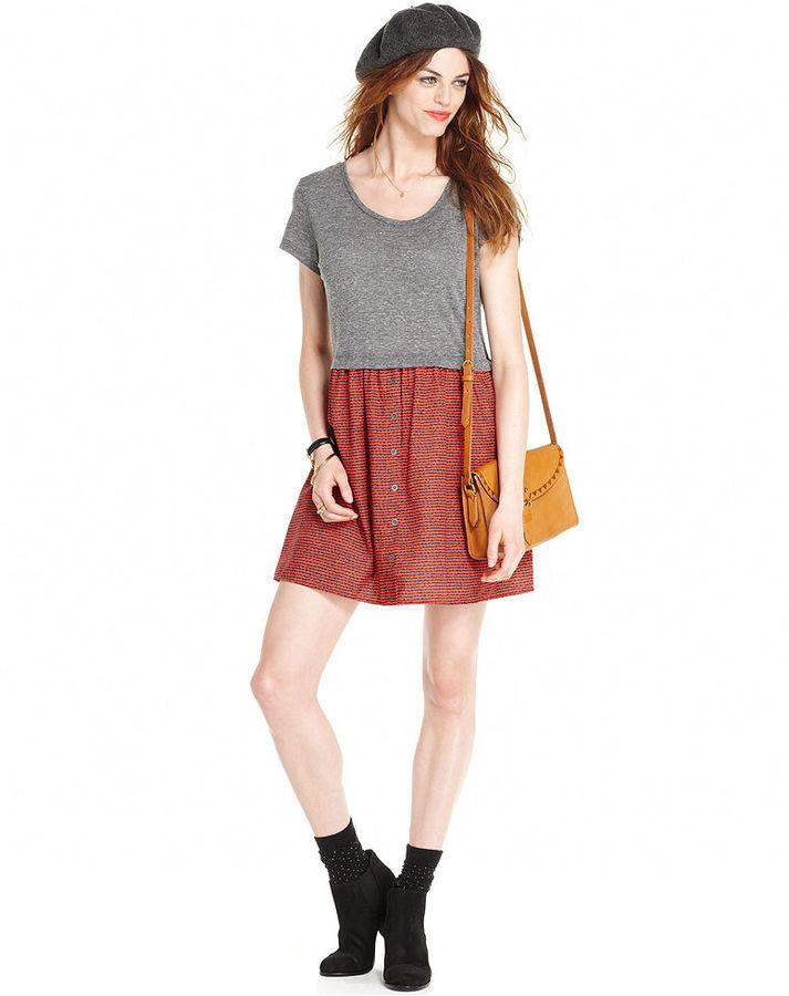 Maison Jules Dress, Short-Sleeve Scoop-Neck Polka-Dot Print