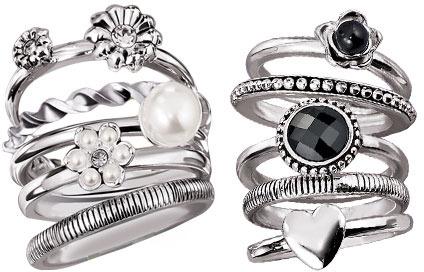 Avon Chic Stackable Ring Set - White & Black