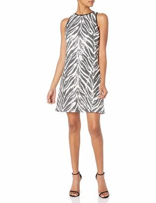 SHO Women's SLVLESS Sequin Zebra Print Dress M