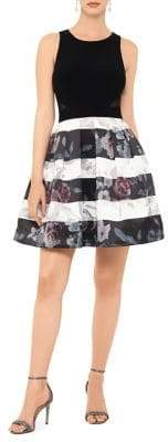 Xscape Evenings Floral Striped Fit-&-Flare Dress