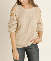 Blu Heaven Taupe Ribbed Cold-Shoulder Sweater