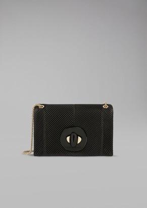 Giorgio Armani Shoulder Bag In Pleated Leather