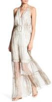 Hale Bob Embellished Halter Silk Maxi Dress