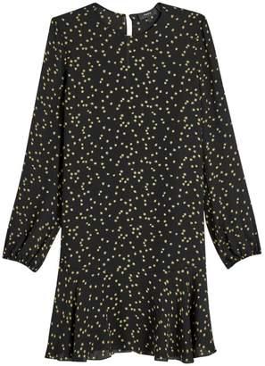Theory Star Print Puff-Sleeve Silk Flounce Shift Dress