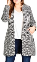 City Chic Plus Size Women's Follow Me Geo Print Coat