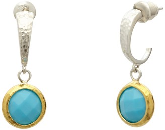 Gurhan Small Hoop Earring With Checkerboard Cut Turquoise