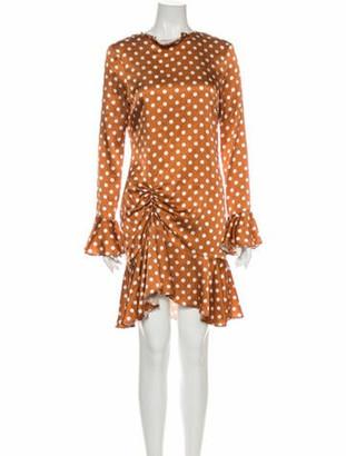 Caroline Constas Silk Knee-Length Dress Orange