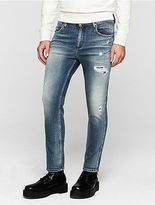 Calvin Klein Mens Sculpted Distressed Slim Ankle Jeans
