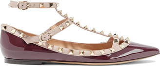 Valentino Rockstud Two-tone Smooth And Patent-leather Point-toe Flats