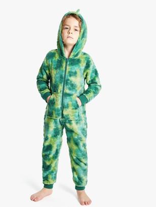John Lewis & Partners Children's Dinosaur Fleece Onesie, Green