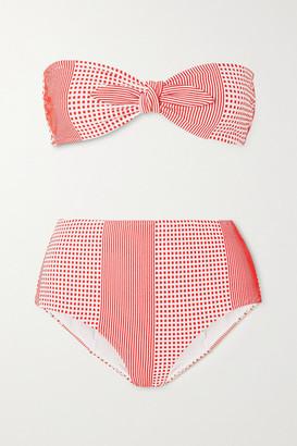 Lemlem Semira Stretch-jacquard Bandeau Bikini Top - Coral
