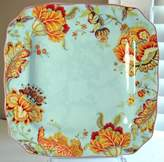 222 Fifth Gabrielle Spring Blue Square Dinner Plates, Set of 4, Paisley by
