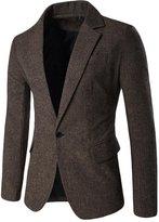 CFD Mens Slim Fit One Button Woolen Solid Blazer Jacket US M