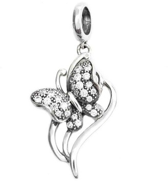 Queenberry Sterling Silver Butterfly Cubic Zirconia Dangle Pendant European Bead Charm
