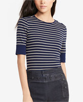 Lauren Ralph Lauren Petite Striped Lace-Shoulder Shirt