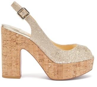 Christian Louboutin Dona Anna 120 Glittered Leather Platform Sandals - Womens - Gold