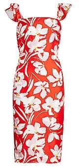 Milly Women's Dayna Hibiscus Print Silk Twill Sheath Dress