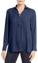 Foxcroft Petite Women's Lace-Up Placket Blouse