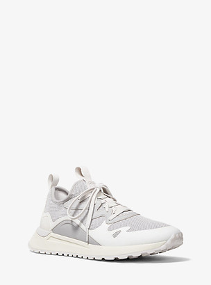 Michael Kors Nolan Mesh and Rubberized Leather Trainer - Aluminum