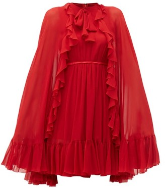 Giambattista Valli Ruffled-cape Silk-chiffon Mini Dress - Womens - Red
