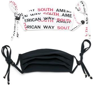 AMIR SLAMA Slogan Print Face Masks (Pack Of 2)