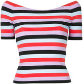 G.V.G.V. stripe jersey off shoulder top - women - Cotton/Polyurethane - S