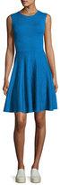 Akris Punto Jacquard Sleeveless Crewneck Dress, Royal