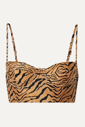 Vix Tiger-print Underwired Bikini Top - Sand