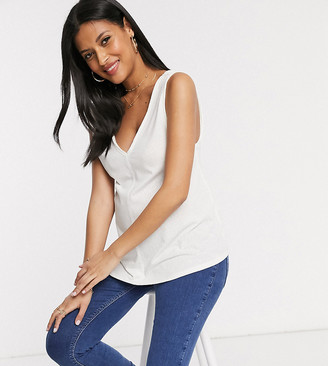 ASOS DESIGN Maternity sleeveless top with drop arm hole in linen mix in white