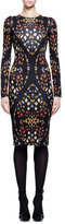 Alexander McQueen Obsession-Print Long-Sleeve Sheath Dress, Black Mix