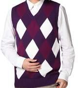 CFD Mens V-neck Sleeveless Sweater Vest Diamond Autumn L