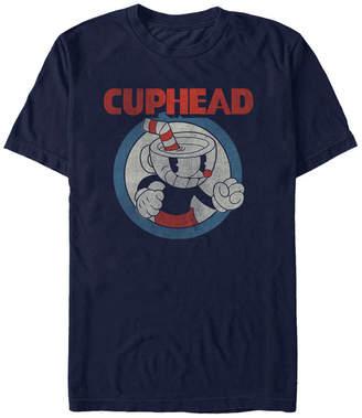 Cuphead Men Vintage-Like Circle Profile Cuphead Short Sleeve T-Shirt