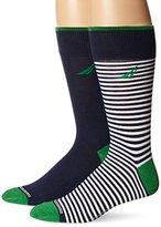 Nautica Men's 2 Pack Classics Dress Casual Small Stripe Crew Socks