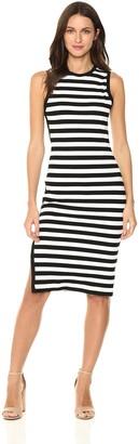 Susana Monaco Women's Striped Sleeveless Crew Dress with Side Leg Slit