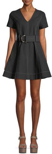 Diane von Furstenberg Short-Sleeve D-Ring Belt Fit-and-Flare Dress