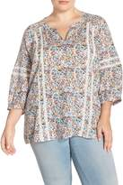 Caslon R) Lace Inset Floral Peasant Top (Plus Size)