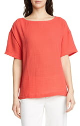 Eileen Fisher Boat Neck Boxy Organic Cotton Top