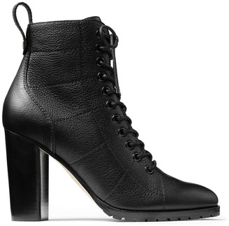 Jimmy Choo CRUZ 95 Black Grainy Leather Lace-Up Combat Boots