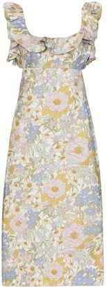 Zimmermann ruffled floral-print linen dress