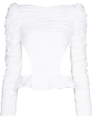 KHAITE Rosy shirred long-sleeve blouse