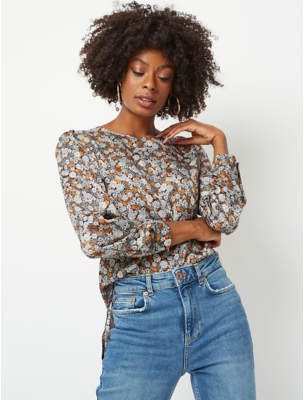 George Ditzy Floral Button Back Blouse