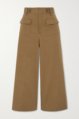 RED Valentino Cropped Cotton-blend Twill Wide-leg Pants - Army green