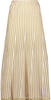 ADAM by Adam Lippes Fluted Paneled Terry And Open-Knit Midi Skirt
